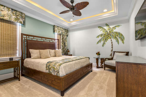 Heading up to the third floor, you will travel to beautiful Hawaii Suite with a king bed