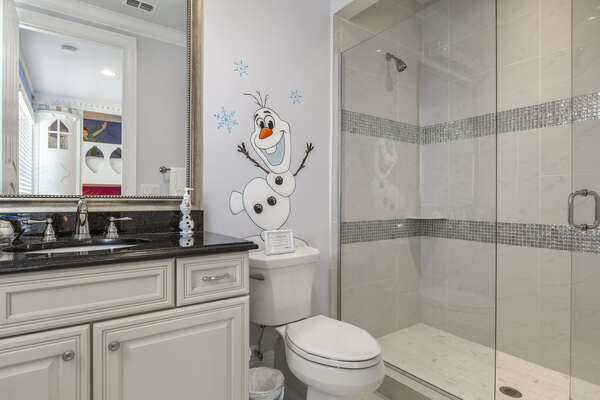 The kids will have their own private bathroom complete with Olaf