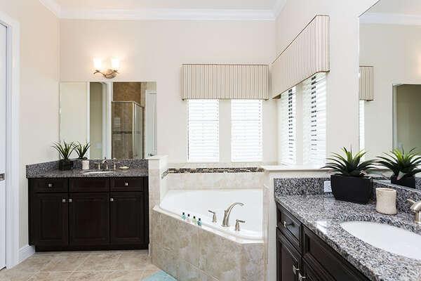 Enjoy the master bathroom with large soaker tub