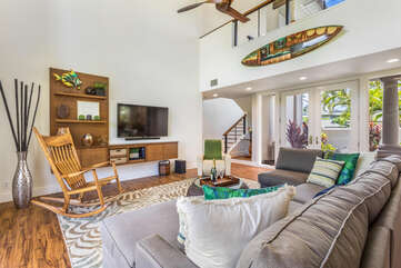Living Area with Rocking Chair and Smart TV