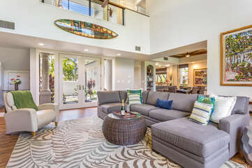 Living Room with Sectional Sofa and Armchair