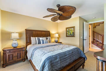 Bedroom 2 with Queen Bed and Large Ceiling Fan at Waikoloa Hawaii Vacation Rentals