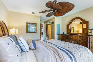 Bedroom 2 with Queen Bed and Large Ceiling Fan