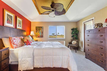 Master Bedroom with California King Bed and Large Dresser