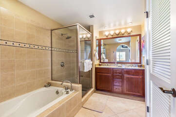 Master Bathroom with Separate Walk In Shower and Soaking Tub
