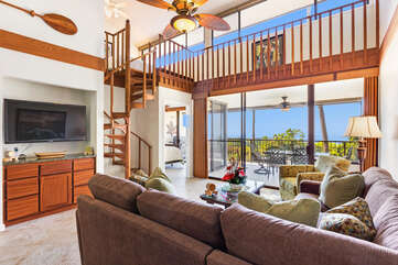 Living Area with large Flat Screen TV and Ocean Views