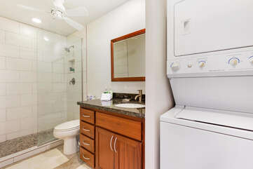 Bathroom 2 with Walk In Shower and In Unit Washer Dryer