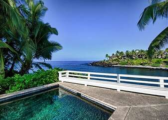 Poolside Lounging with Ocean Views