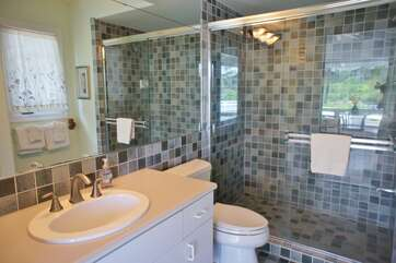 Full Bathroom off Kitchen and Pool