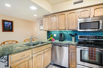 Fully equipped kitchen inside our Kona HI Rental