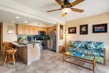 Living area and kitchen at our Kona HI Rental