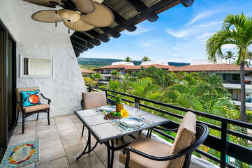 Spacious lanai to relax and take in the views in our Kona HI Rental