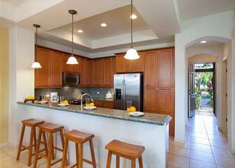 Breakfast Bar with Seating for Four, Refrigerator, and Microwave