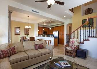 Living Area with Sofas, Accent Chair, and Ceiling Fan