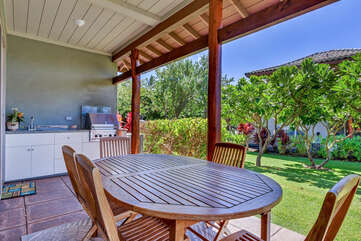 Lanai with Outdoor Dining Table, Chairs, and BBQ
