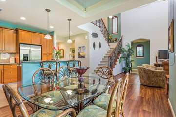 Dining Table, Chairs, Breakfas Bar, Stairway, and Sofas