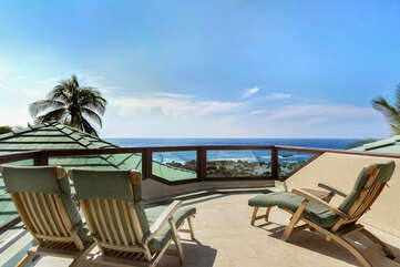 Upper Sun Deck Lanai with Great Ocean Views off Master Bedroom