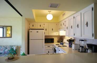 Kitchen with fridge and oven,