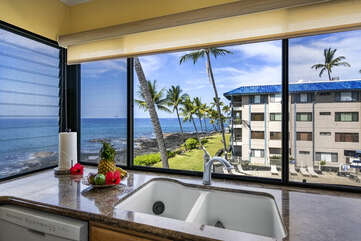 A sink in the kitchen and views