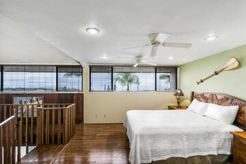 Loft with Queen Bed, Hardwood Floors, and Long Windows
