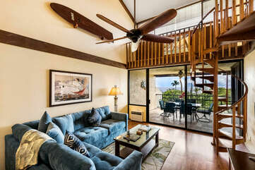 Living Room with Spiral Staircase to the Loft at Country Club Villas 324