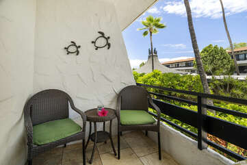 Outdoor lanai at this oceanfront complex Kona.
