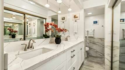 Master bathroom with double sinks. Remodeled in 2021