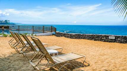 Oceanfront seating outside of this rental