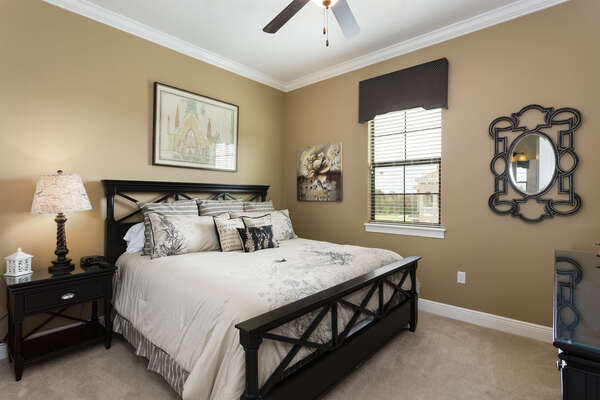 The second master bedroom has a king bed