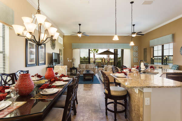 The open concept kichen, dining area and living room make it easy to carry conversations throughout the area