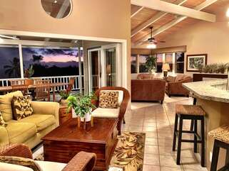Open concept floor plan with multiple living and entertaining areas