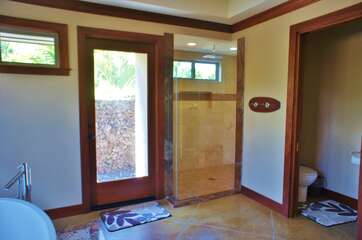 Master Shower and Door to Outside Shower