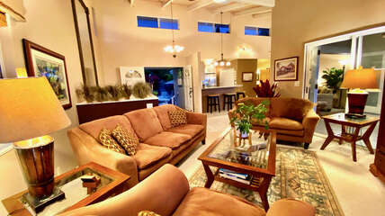 Open concept floor plan with multiple living areas