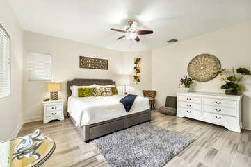 Large Bed, Dresser, and Ceiling Fan