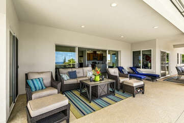 Covered Lanai with Outdoor Furniture Set by the Pool