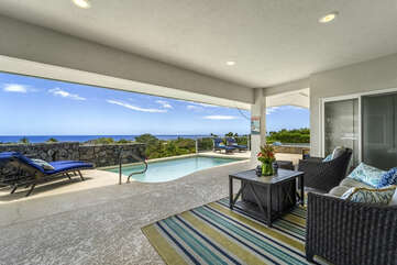 Covered Lanai with Ocean View and Outdoor Furniture Set