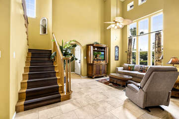 Living area, Stairs leading to second floor bedrooms