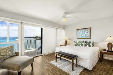 Primary bedroom is ocean front with a King bed