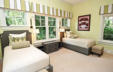 The 3rd bedroom has two twin beds and an attached full bathroom with large tub.
