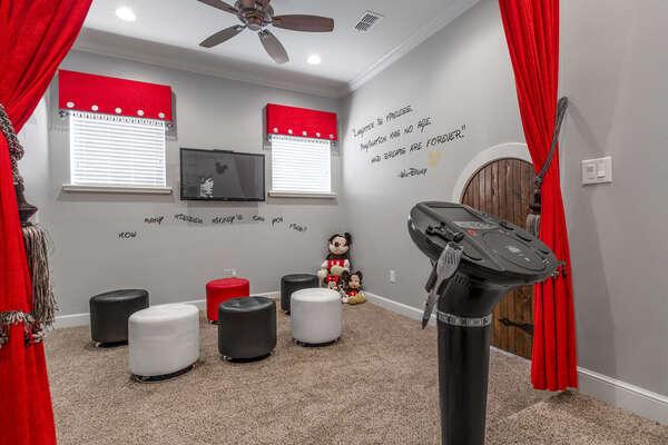 Hidden Mickey playroom with a karaoke machine
