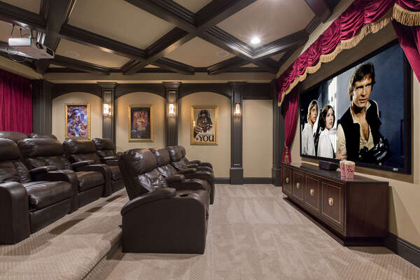 The Star Wars themed movie theater has a 100 inch screen, surround sound and stadium style seating