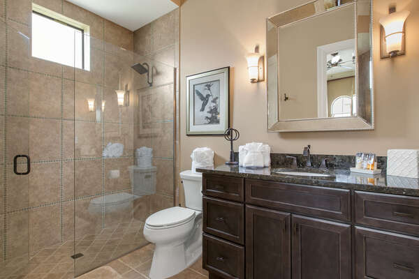 The private bathroom is ideal for couples and features a walk-in shower
