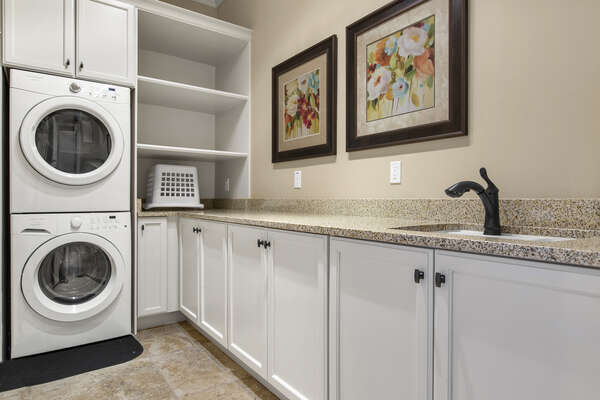 The laundry room is located on the ground floor