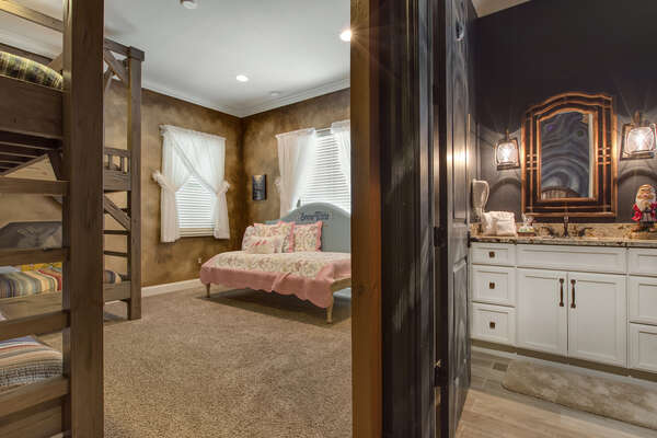 This bedroom has its own private bathroom