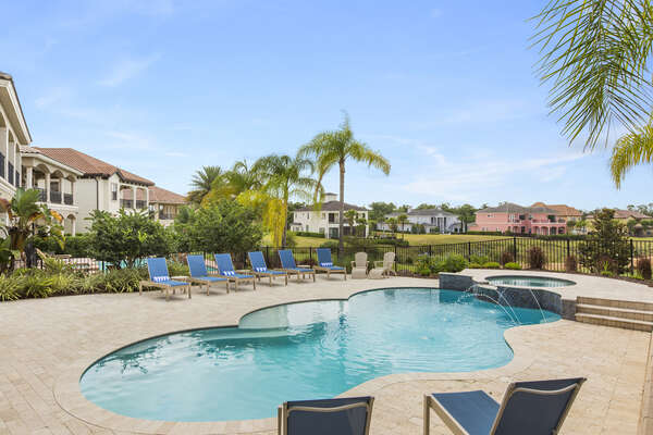 The pool has amazing golf course views from any of the sun loungers
