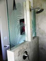 Custom shower in upstairs Master, complete with hand etched glass & rainhead