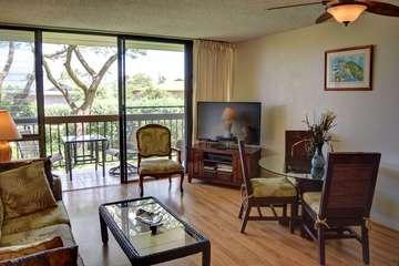 Spacious living room with adjoining lanai