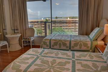 Partial ocean views from the guest bedroom