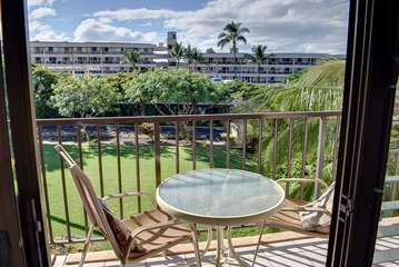 Relax on this private garden view lanai