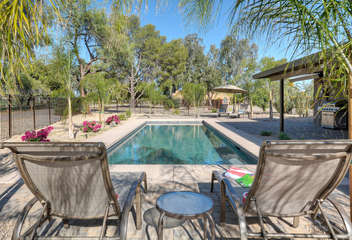 Backyard offers a private paradise where everyone can enjoy sunny and warm weather